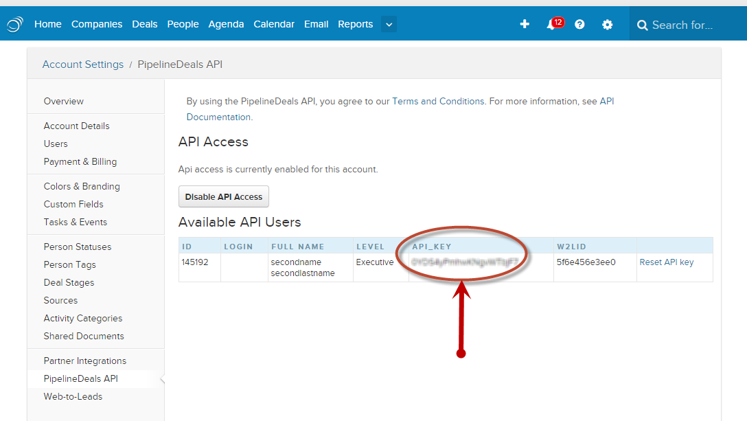 Data2CRM api-key-pipelinedeals