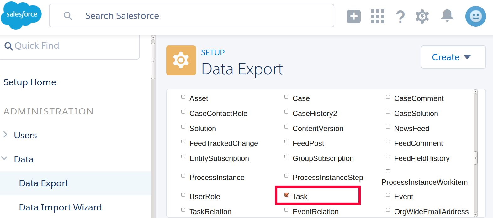Salesforce tasks export in files