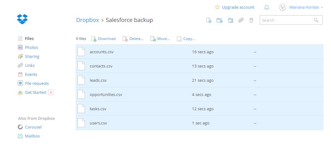 Trujay Salesforce migration instruction: Upload files to Dropbox