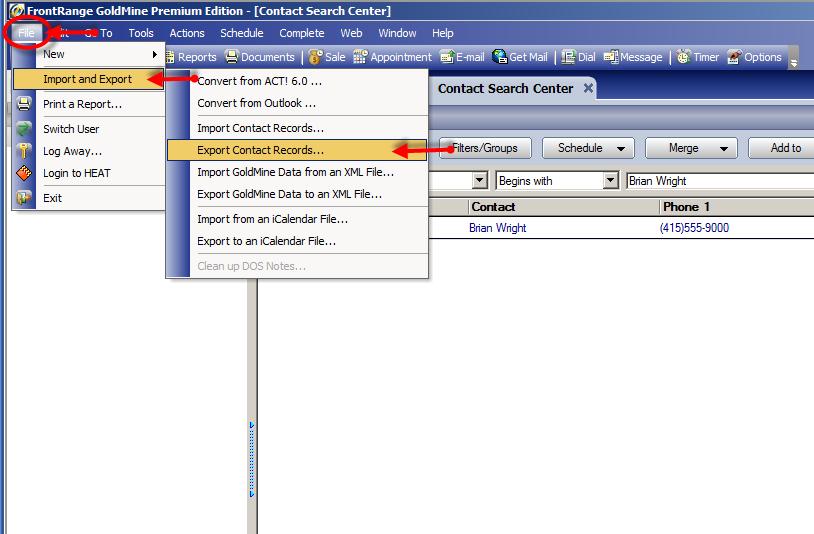 Export Contact Records