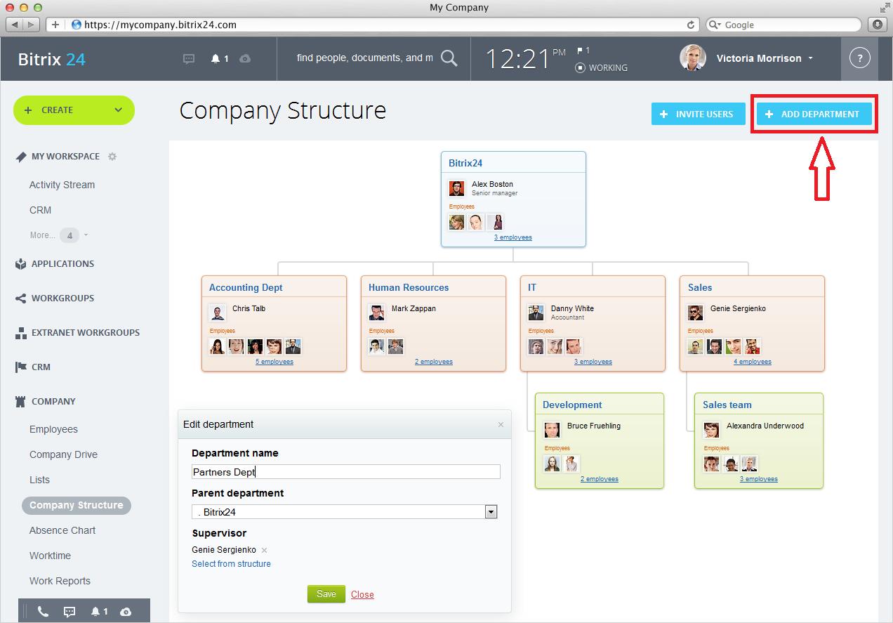 Company structure in Bitrix24