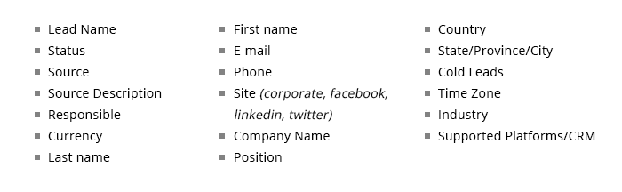 Lead Required Fields