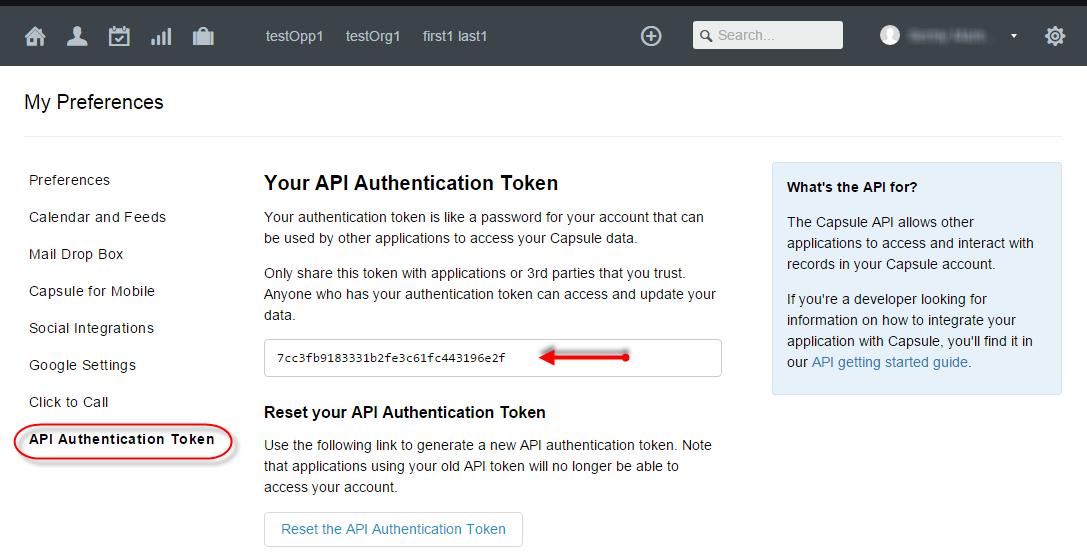 Get Capsule CRM API Token