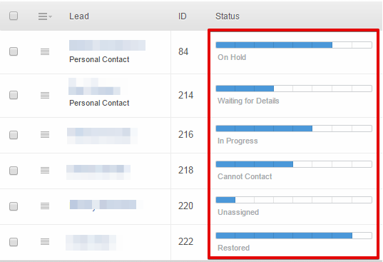 Assign statuses to your new leads