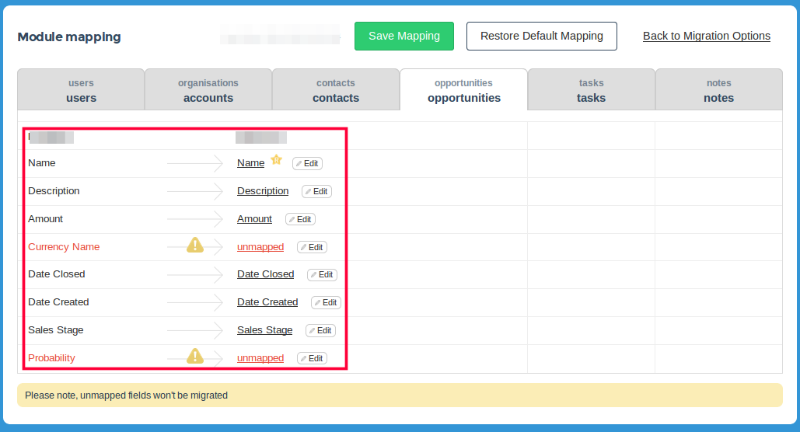 Mapping CRM fields