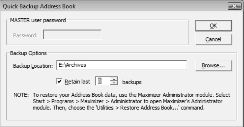 maximizer backup