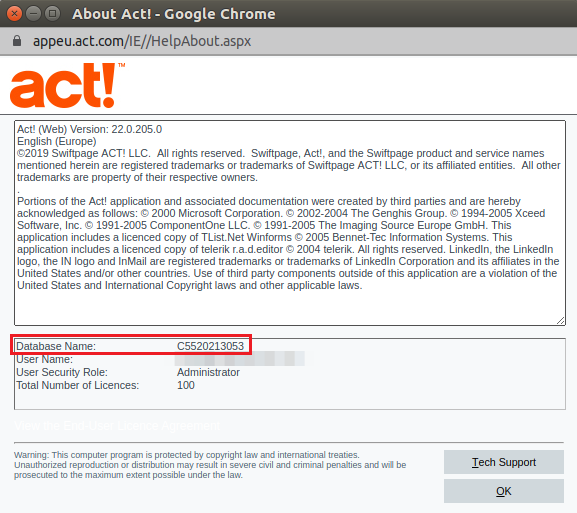 act! growth suite database name